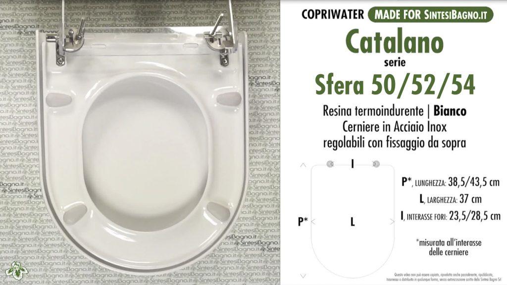 Copriwater. SFERA 50/52/54. Catalano. Sedile DEDICATO. Bianco. DUROPLAST