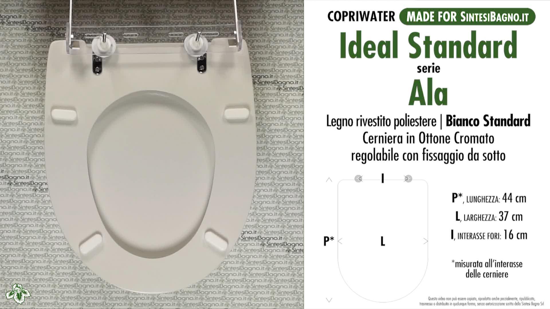 Copriwater. AERO. Ideal standard. Come l'originale. Bianco Standard