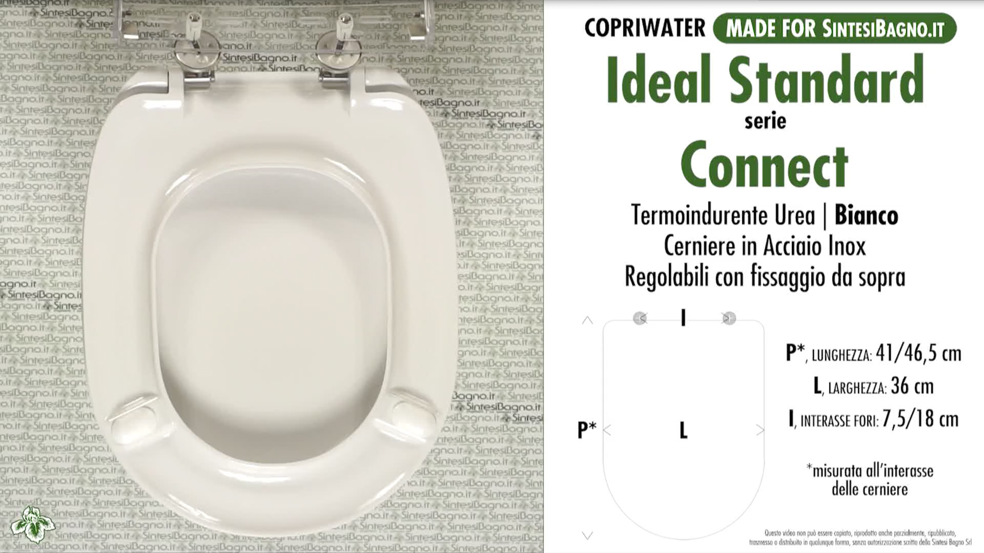 Copriwater. CONNECT. Ideal standard. SOFT CLOSE. Dedicato. BIANCO. Termoindurente