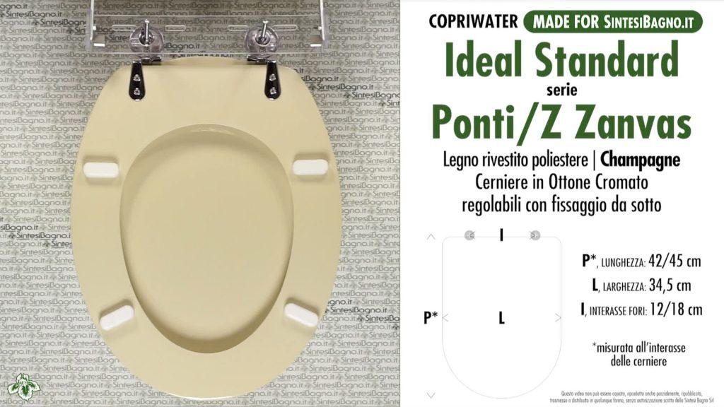 Copriwater. PONTI Z 3164. Ideal standard. Dedicato. CHAMPAGNE