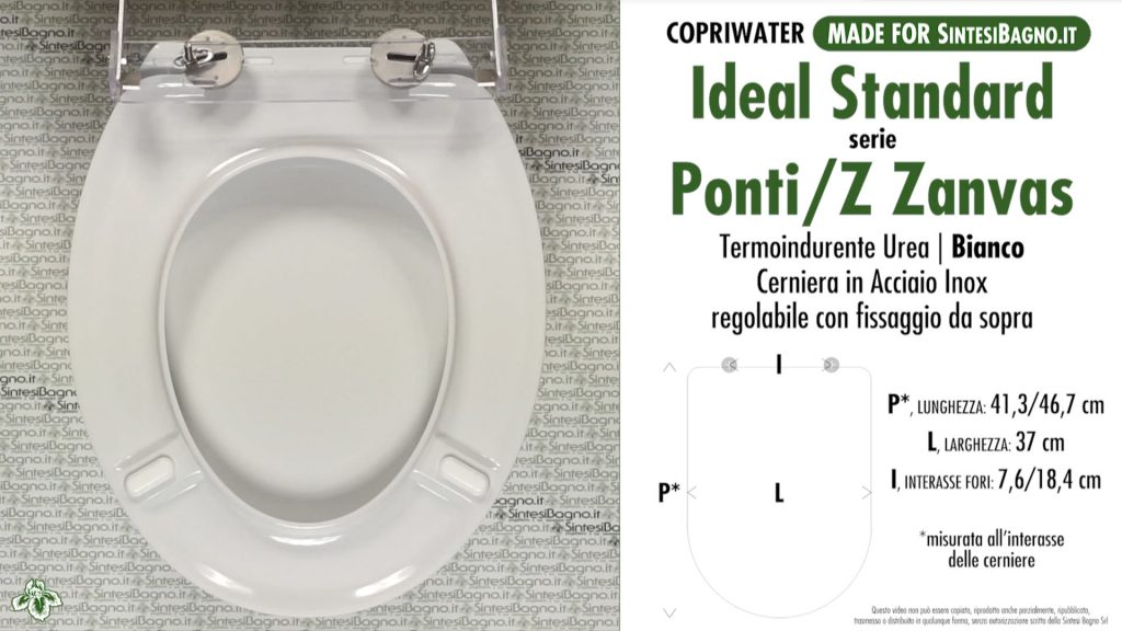Copriwater. PONTI Z 3164/65. Ideal standard. SOFT CLOSE. Dedicato. BIANCO. PLUS+ QUALITY
