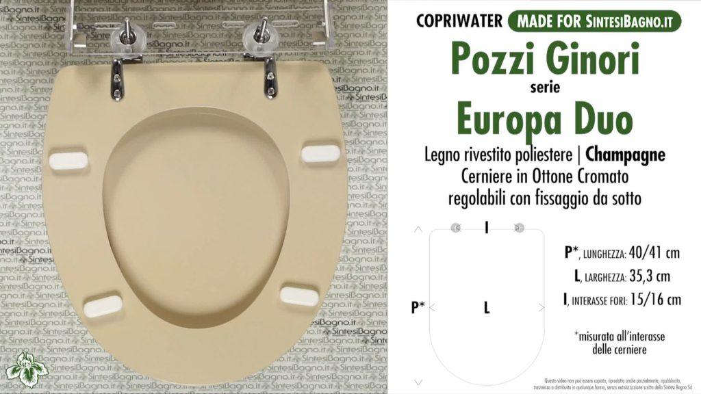 Copriwater. EUROPA DUO. Pozzi Ginori. Sedile DEDICATO. CHAMPAGNE