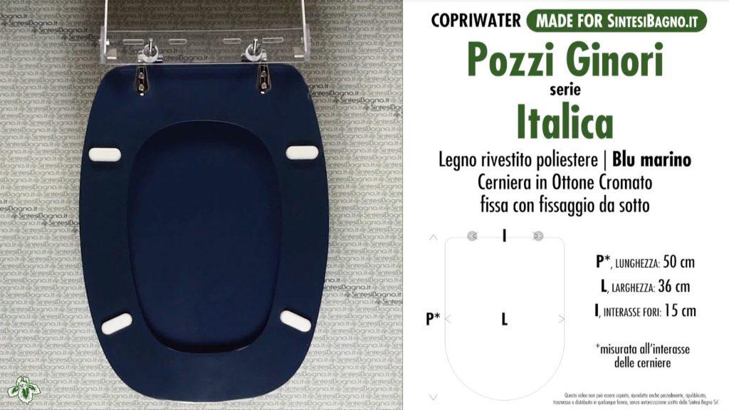 Copriwater. ITALICA. Pozzi Ginori. Sedile DEDICATO. BLU MARINO