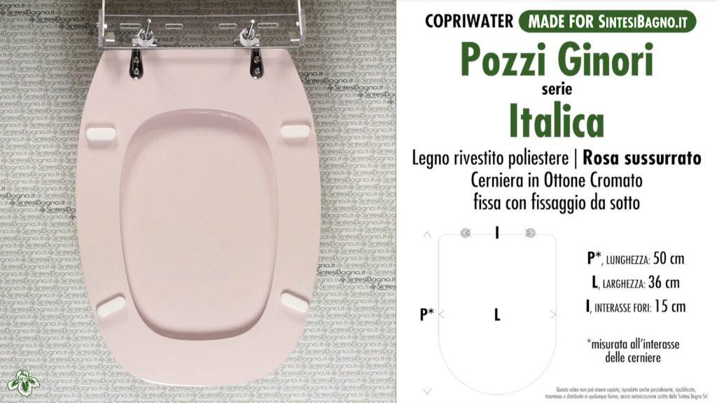 Copriwater. ITALICA. Pozzi Ginori. Sedile DEDICATO. ROSA SUSSURRATO