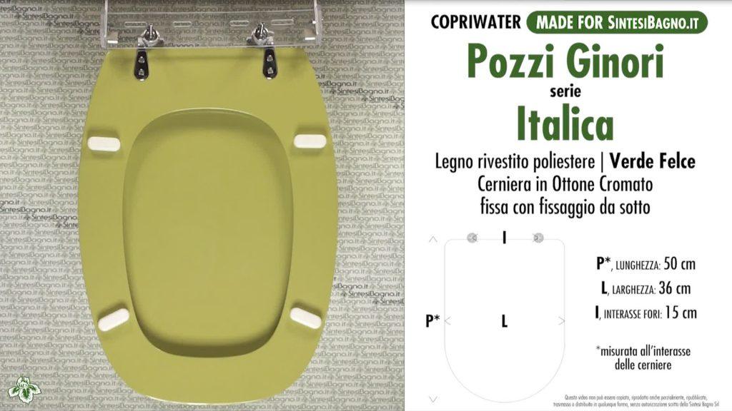 Copriwater. ITALICA. Pozzi Ginori. Sedile DEDICATO. VERDE SUSSURRATO