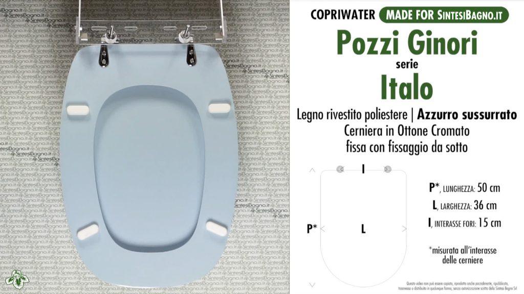 Copriwater. ITALO. Pozzi Ginori. Sedile DEDICATO. AZZURRO SUSSURRATO