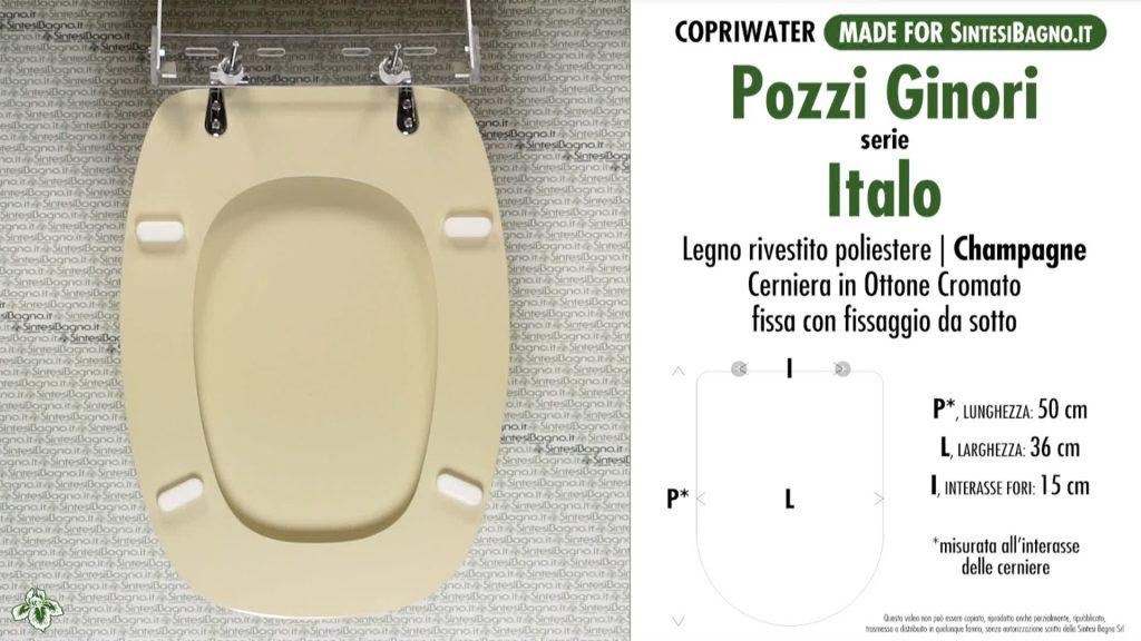 Copriwater. ITALO. Pozzi Ginori. Sedile DEDICATO. CHAMPAGNE