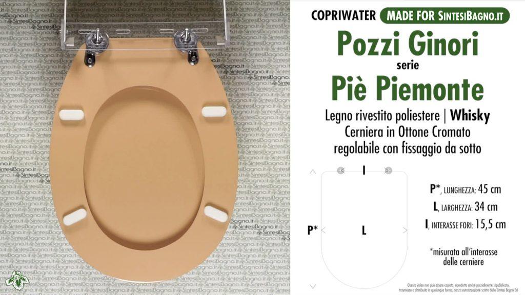 Copriwater. PIE' PIEMONTE PIEMONTESINA. Pozzi Ginori. Sedile DEDICATO. WHISKY