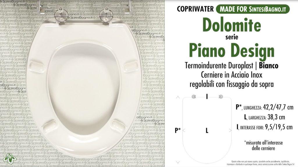 Copriwater. PIANO DESIGN. Dolomite. Sedile DEDICATO. Bianco. DUROPLAST