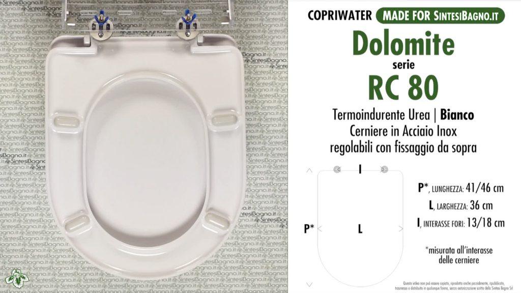 Copriwater. RC 80. Dolomite. Sedile COMPATIBILE. Bianco