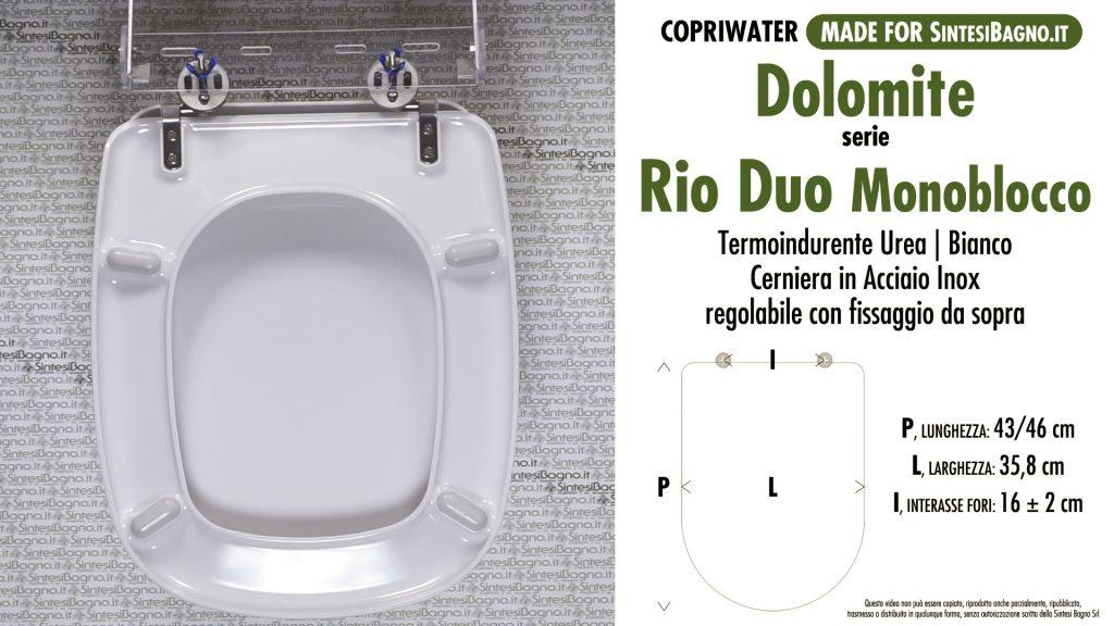Copriwater. RIO DUO MONOBLOCCO. Dolomite. Sedile COMPATIBILE. Bianco