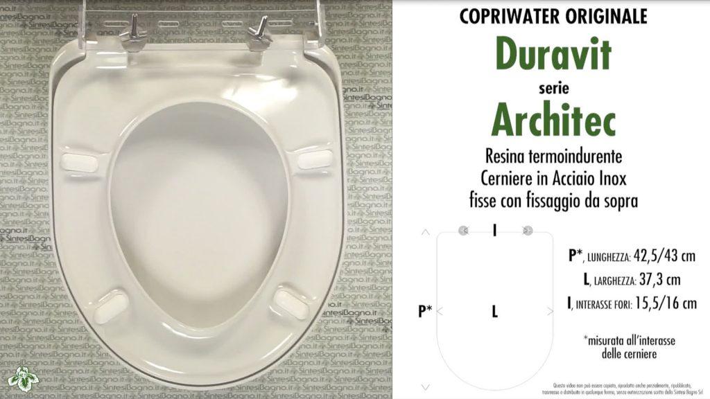 Copriwater. ARCHITEC. Duravit. Sedile ORIGINALE. Bianco