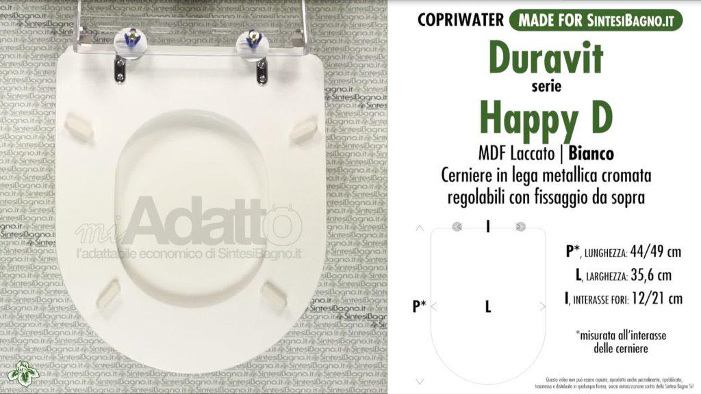 Copriwater. HAPPY D. Duravit. Sedile ADATTABILE. Bianco