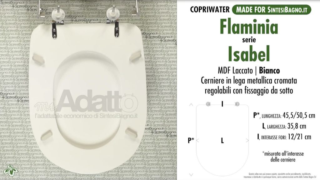 Copriwater. ISABEL. Flaminia. Sedile ADATTABILE. Bianco