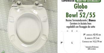 Copriwater per GLOBO ALIA NEW 57 TERRA//SOSPESO TERMOINDURENTE BIANCO cerniera inox normale o rallentata soft close Cerniera//Chiusura Normale