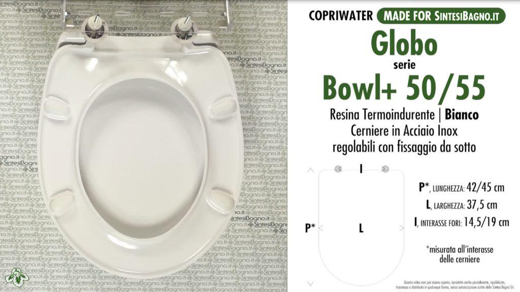 Copriwater. BOWL+ 50.55. Globo. Sedile DEDICATO. Bianco. DUROPLAST