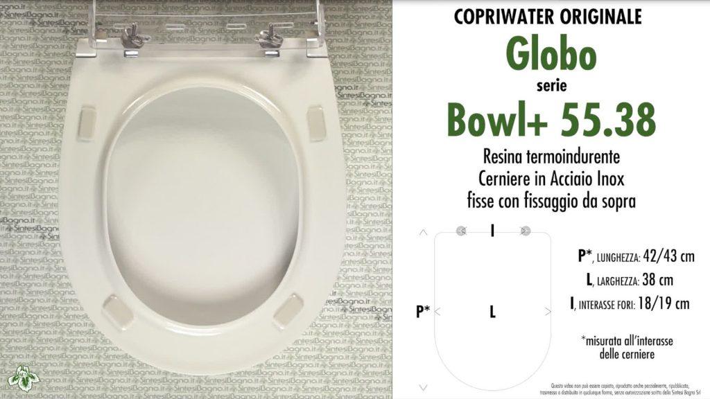 Copriwater. BOWL+ 55.38. Globo. Sedile ORIGINALE. Bianco