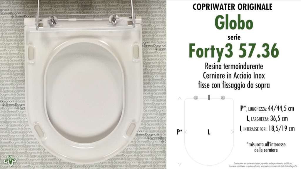 Copriwater. GLOBO FORTY3 57.36. Globo. Sedile ORIGINALE. Bianco