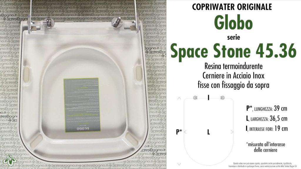 Copriwater. SPACE STONE 45.36. Globo. Sedile ORIGINALE. Bianco