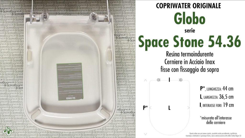 Copriwater. SPACE STONE 54.36. Globo. Sedile ORIGINALE. Bianco