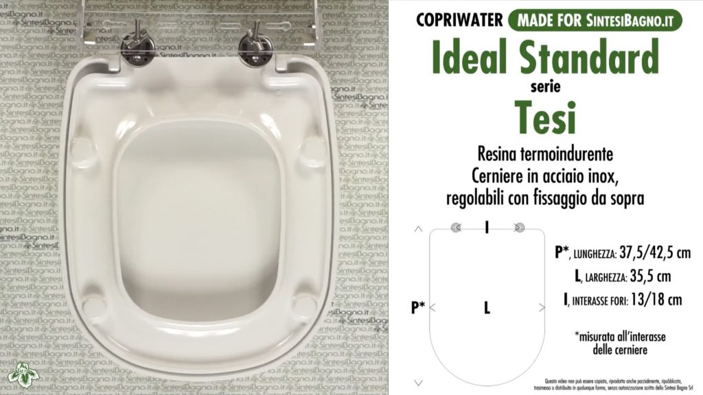 Copriwater. TESI. Ideal standard. COMPATIBILE. DUROPLAST. BIANCO