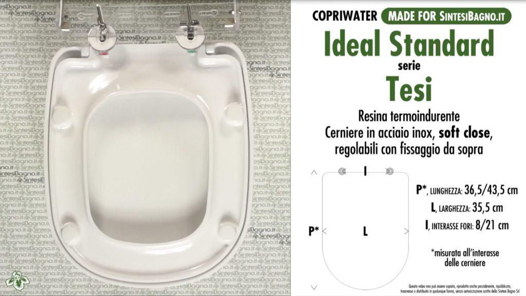 Copriwater. TESI. Ideal standard. COMPATIBILE. DUROPLAST. Bianco. SOFT CLOSE