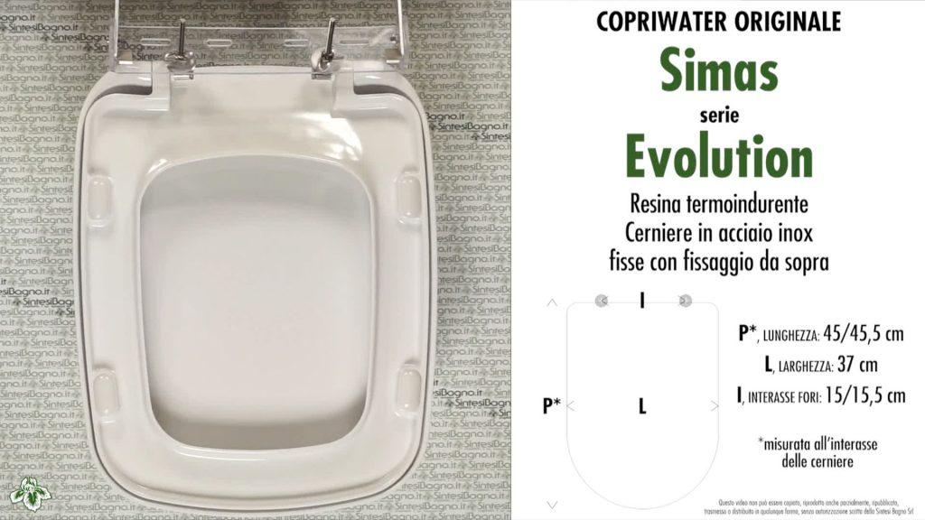 Copriwater. EVOLUTION. Simas. Sedile ORIGINALE. Bianco