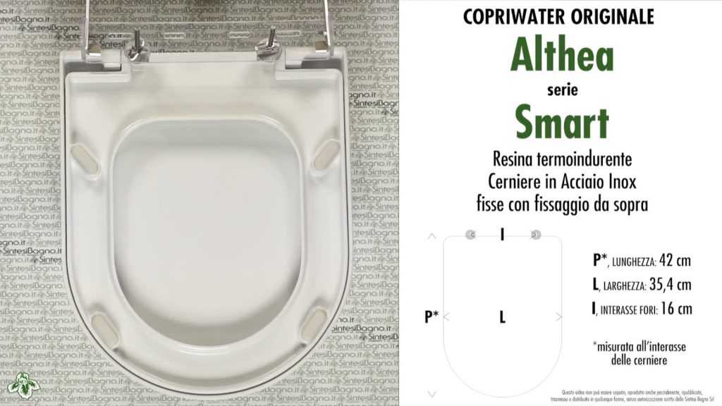 Copriwater. SMART. Althea. Sedile ORIGINALE. Bianco
