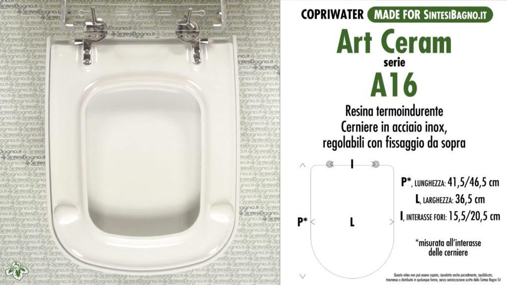 Copriwater. A16. Art Ceram. Sedile DEDICATO. Bianco. DUROPLAST