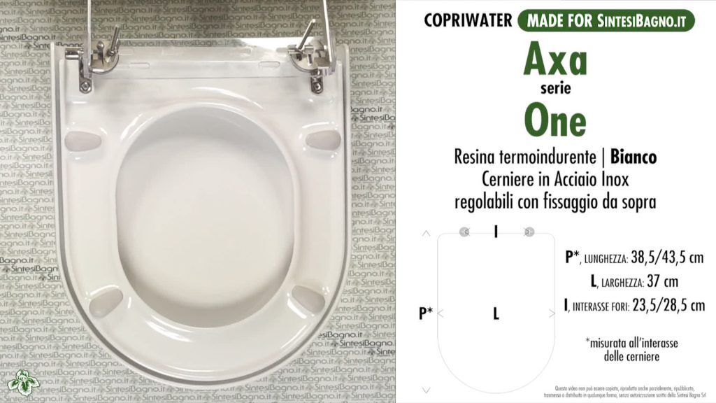 Copriwater. AXA ONE. Axa. Sedile DEDICATO. Bianco. DUROPLAST