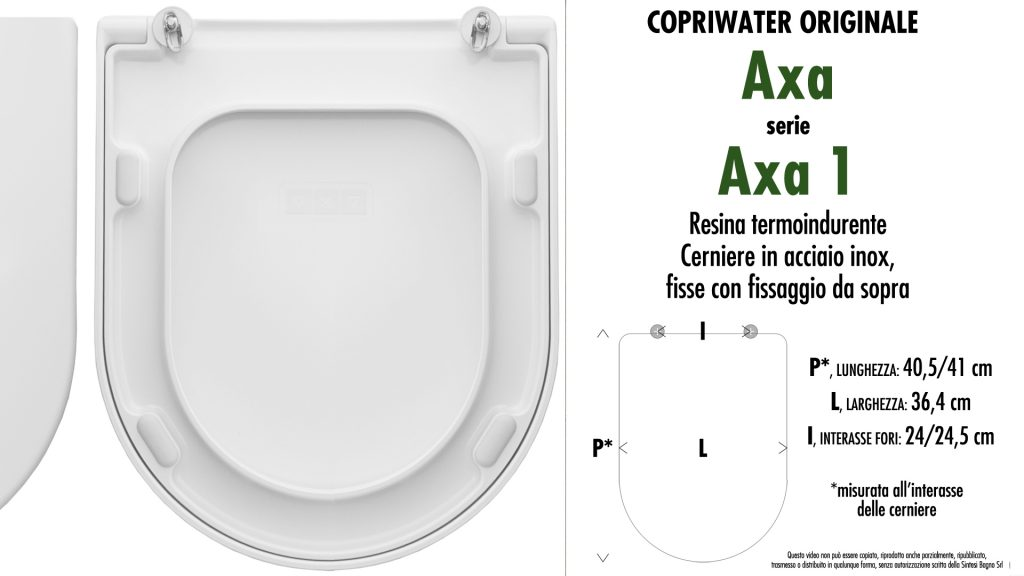 Copriwater. AXA ONE. Axa. Sedile ORIGINALE. Bianco