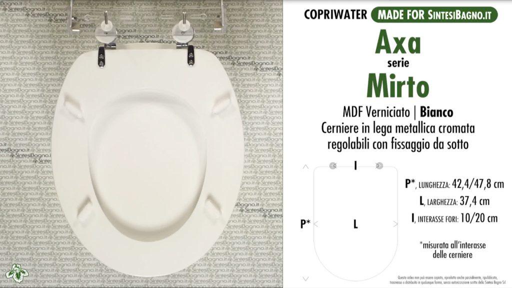 Copriwater. MIRTO. Axa. Sedile COMPATIBILE. Bianco