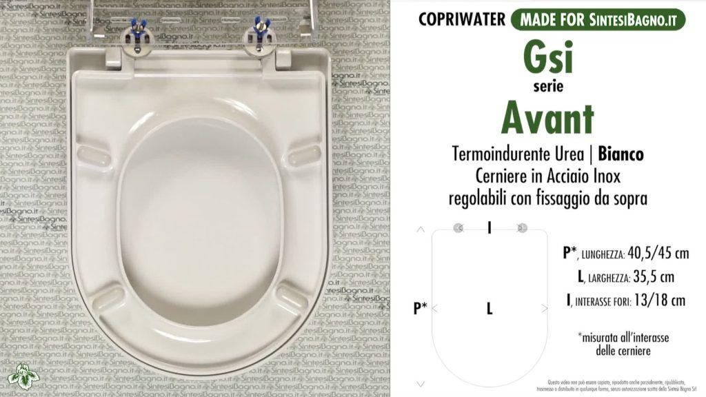 Copriwater. AVANT. Facis/GSI. Sedile COMPATIBILE. Bianco