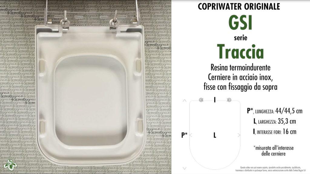 Copriwater. TRACCIA. Facis/GSI. Sedile ORIGINALE. Bianco