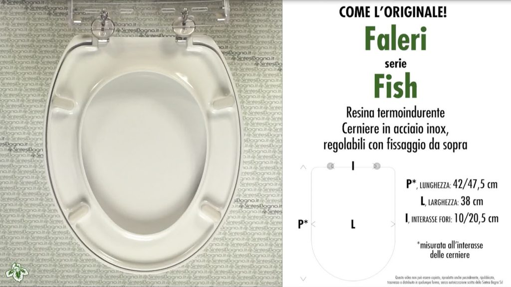 Copriwater. FISH. COME l'ORIGINALE. Faleri. Sedile COMPATIBILE. Bianco