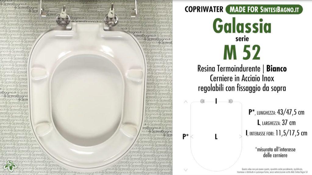 Copriwater. M 52. Galassia. Sedile DEDICATO. Bianco. DUROPLAST