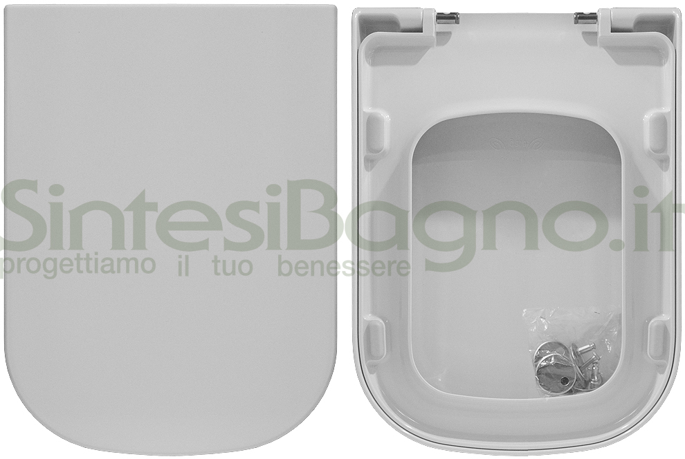 Copriwater. MEG11/MEG11(TRASLATO-PLUS DESIGN). Galassia. Sedile ORIGINALE. Bianco