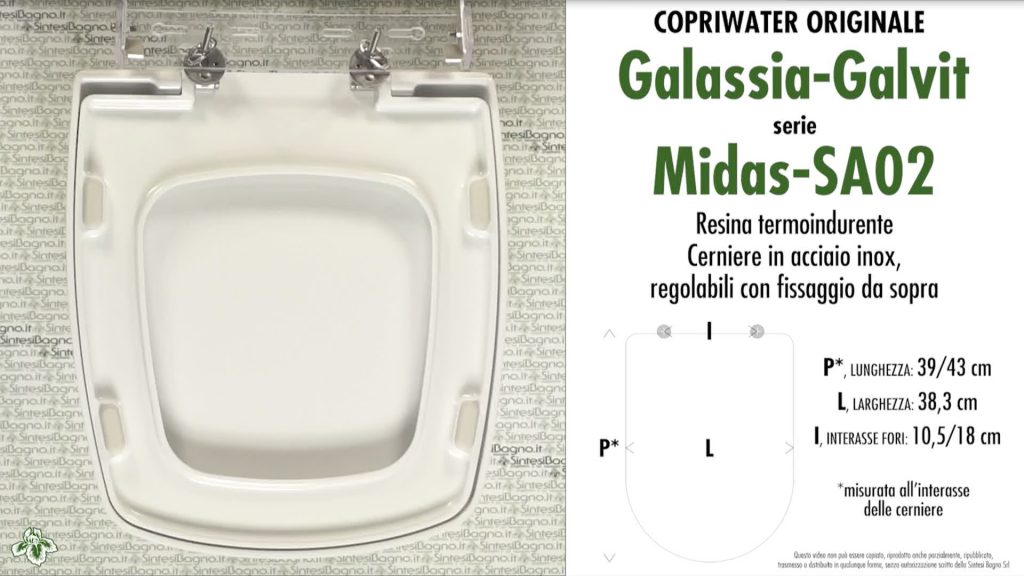 Copriwater. MIDAS/SA02. Galassia. Sedile ORIGINALE. Bianco