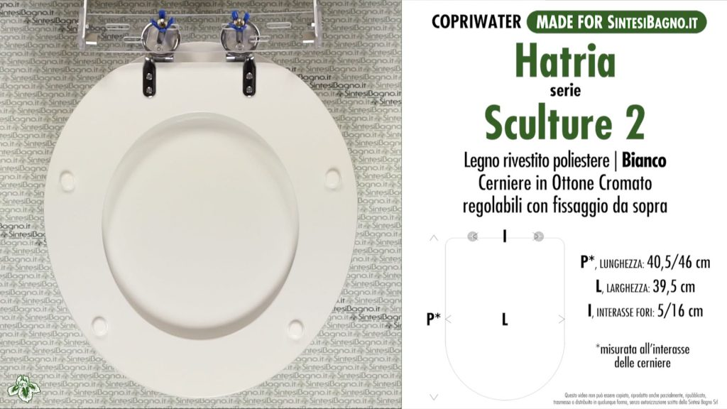 Copriwater. SCULTURE 2. Hatria. Sedile DEDICATO. Bianco