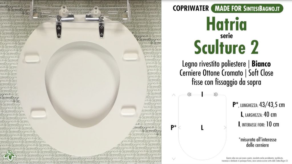 Copriwater. SCULTURE 2. Hatria. Sedile DEDICATO. Bianco. SOFT CLOSE