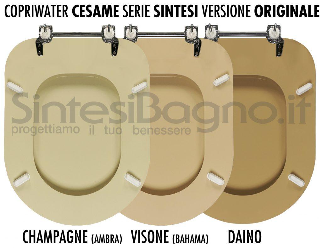 Sedili wc colorati Cesame: CHAMPAGNE/ambra, VISONE/bahama, DAINO