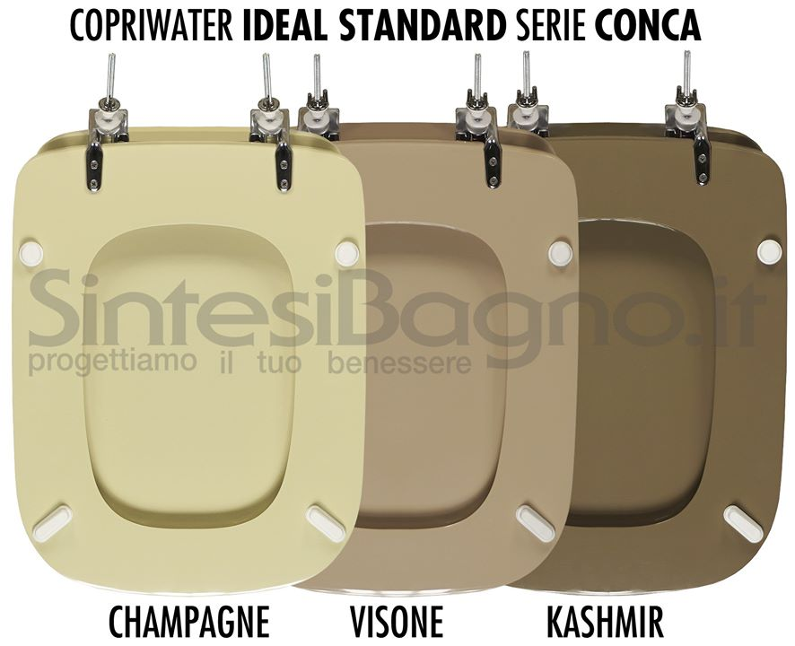 Copriwater CONCA colore champagne, visone, kashmir