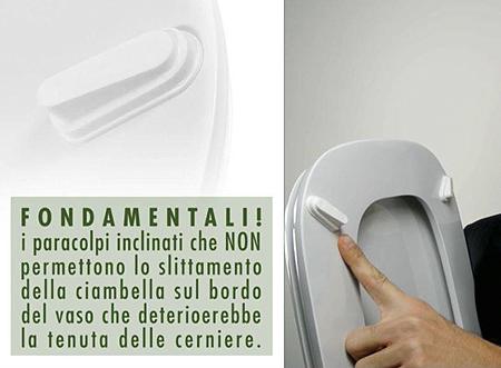 I paracolpi inclinati del copriwater CONCA. Stabilità e durata del sedile wc Ideal Standard