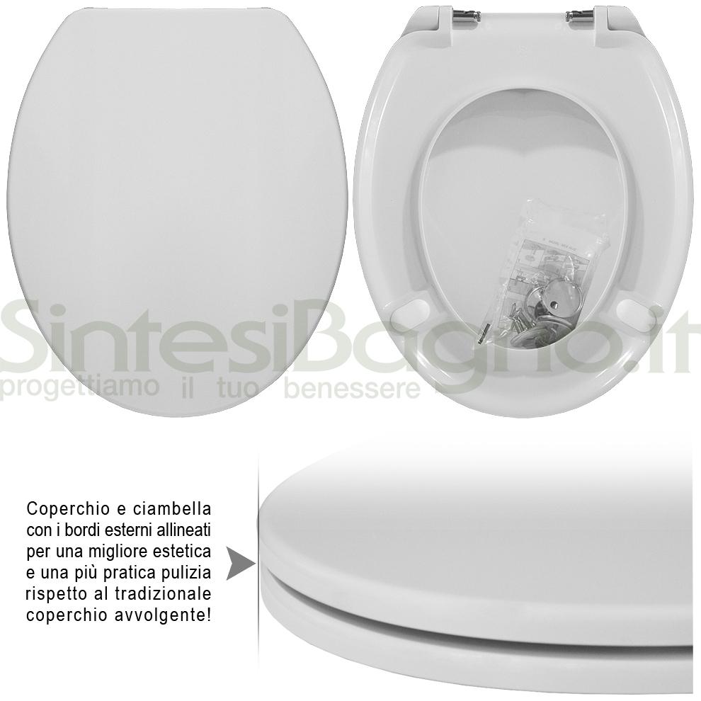 Sedile WC modello: UNIVERSALE. Tipo: UNIVERSALE. Materiale: UREA (Duroplast). Cerniere: ACCIAIO INOX. Colore: BIANCO. Qualità: PLUS QUALITY