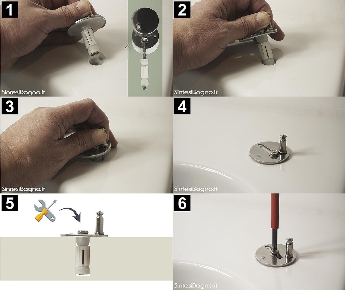 Sequenza fissaggio copriwater con tassello easpnasione