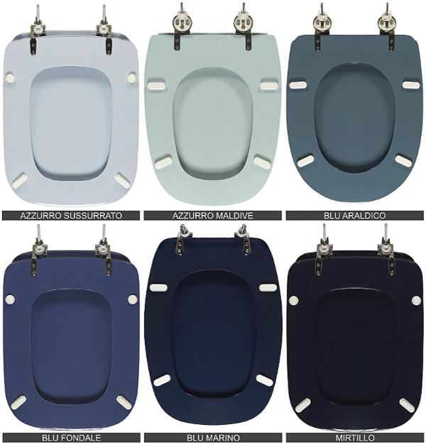 Sanitari e copriwater colorati, le tinte del blu/azzurro: blu fondale, blu araldico, azzurro sussurato, blu marino